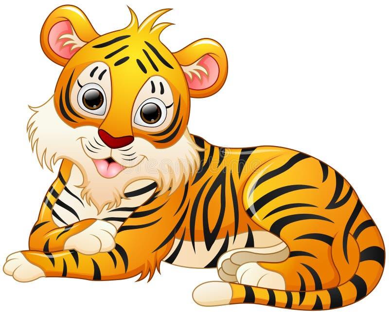 Śliczna tygrysia kreskówka kłaść puszek royalty ilustracja