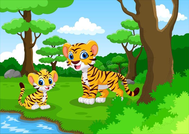 Śliczna tygrysia kreskówka w lesie ilustracji