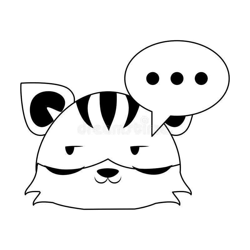 Śliczna tygrysia zwierzęca kreskówka w czarny i biały ilustracja wektor