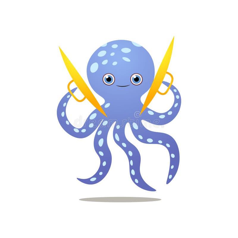 Śliczna uśmiechnięta błękitna ośmiornicy sztuka przy złocistymi cymbałkami royalty ilustracja