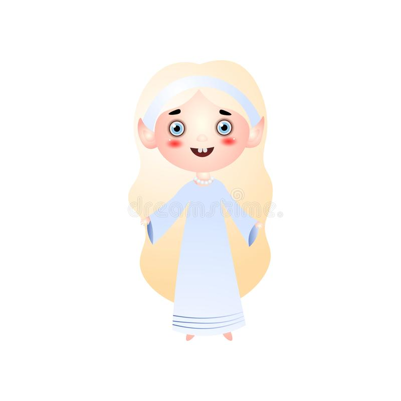 Śliczna uśmiechnięta blondynki dziewczyna w świątobliwym białym kostiumu ilustracja wektor