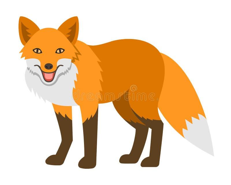 Śliczna uśmiechnięta czerwonego lisa kreskówki ilustracja ilustracji