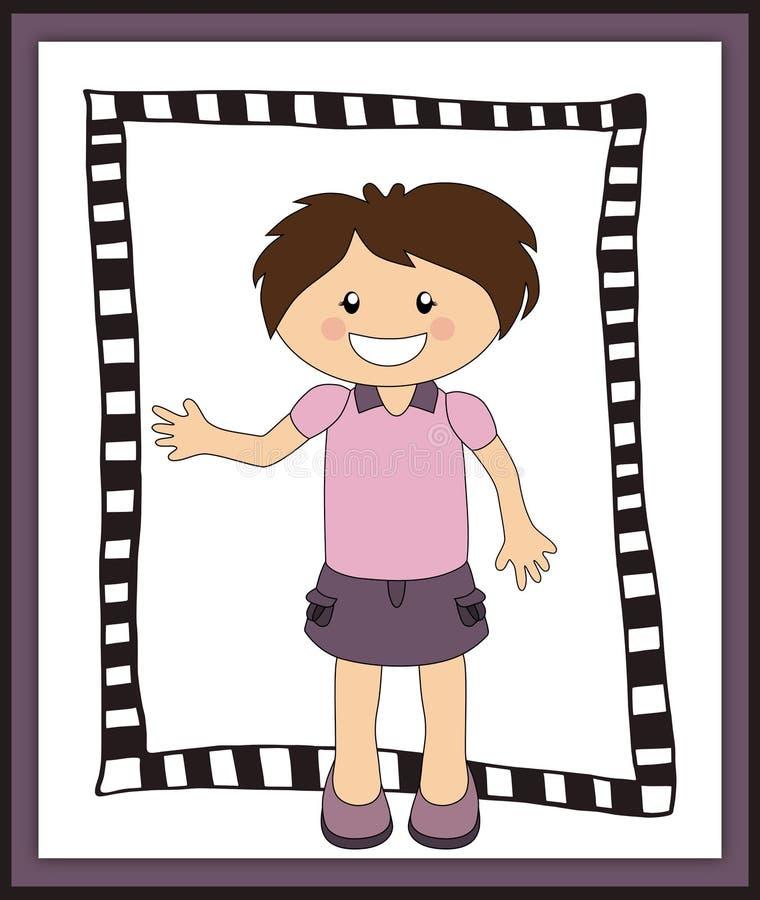 Śliczna uśmiechnięta dziewczyna w ramie ilustracji