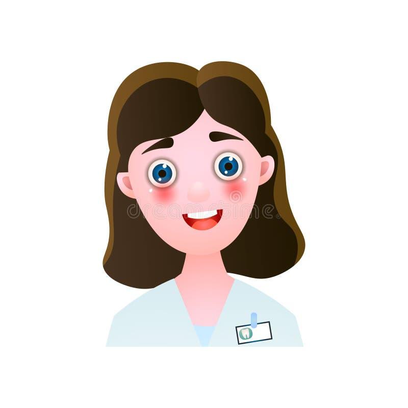 Śliczna uśmiechnięta kobieta dentysty lekarka z brązu włosy ilustracji