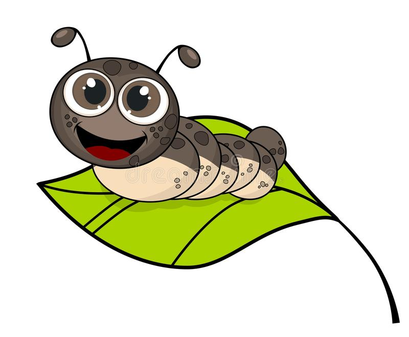 Śliczna uśmiechnięta kreskówki gąsienica na świeżym zielonym liściu ilustracji