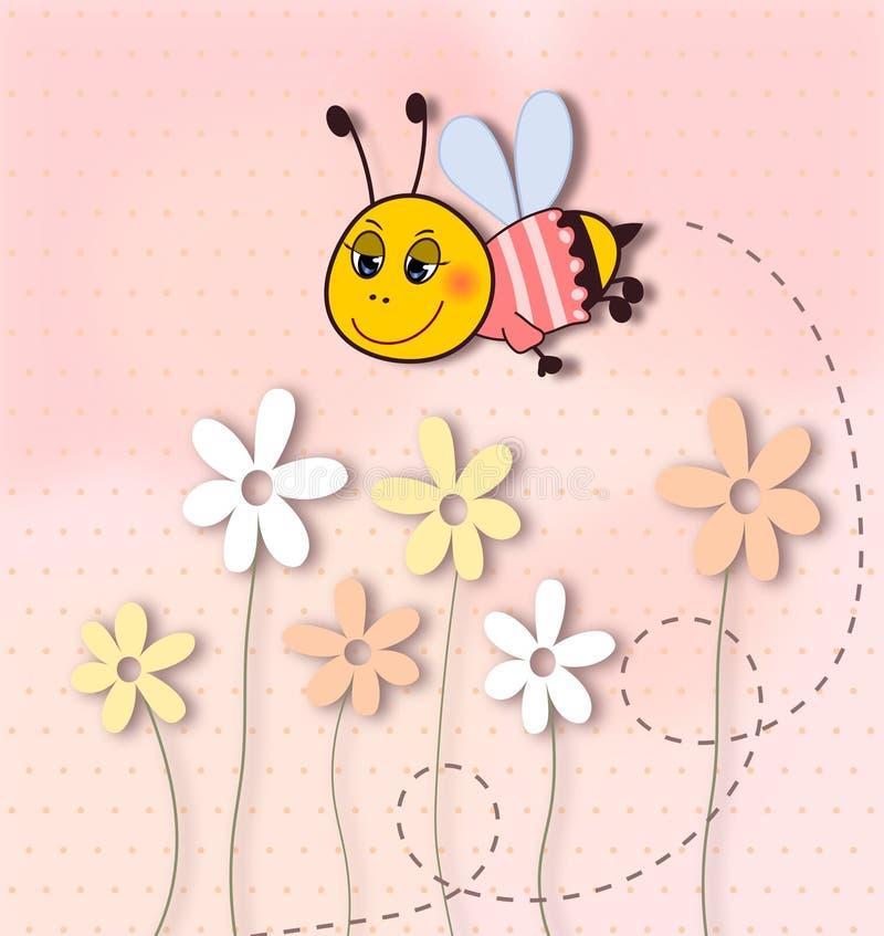 Śliczna uśmiechnięta pszczoła z kropki tłem ilustracji