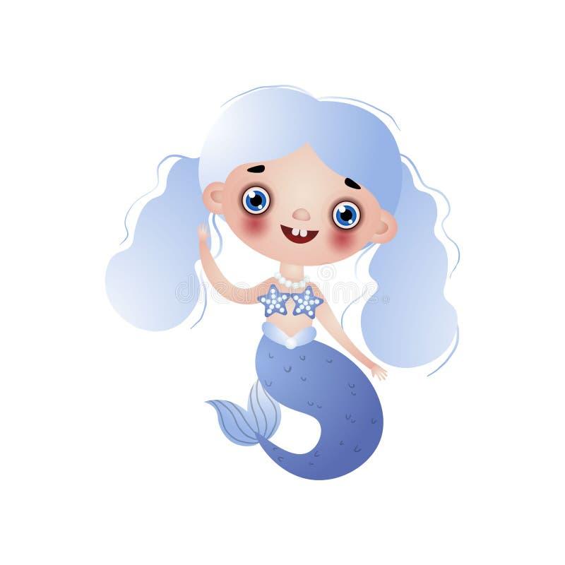 Śliczna uśmiechnięta syrenki dziewczyna z błękitnym falistym supłającym włosy odizolowywającym na białym tle ilustracji