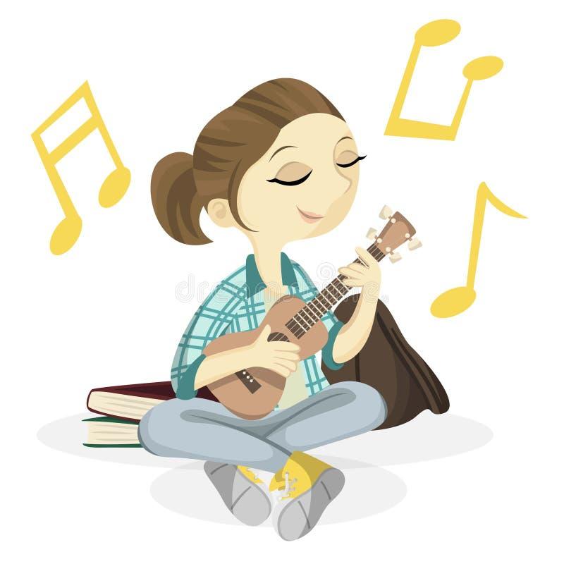 Śliczna ukulele dziewczyna royalty ilustracja