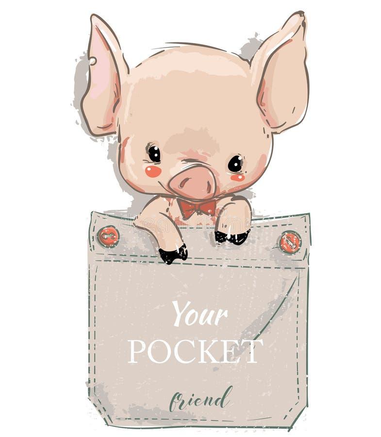 Śliczna urocza kreskówki świnia na kieszeni również zwrócić corel ilustracji wektora ilustracja wektor