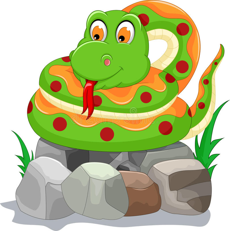 Śliczna wąż kreskówka na kamieniu royalty ilustracja