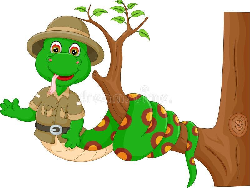 Śliczna wąż kreskówka przekręcał na drzewie z uśmiechem i falowaniem ilustracji