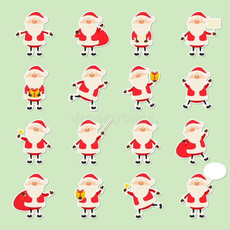 Śliczna wektorowa Święty Mikołaj papieru majcheru ikona ustawiająca w mieszkanie stylu, bożych narodzeniach kolekcje, xmas i nowe ilustracja wektor