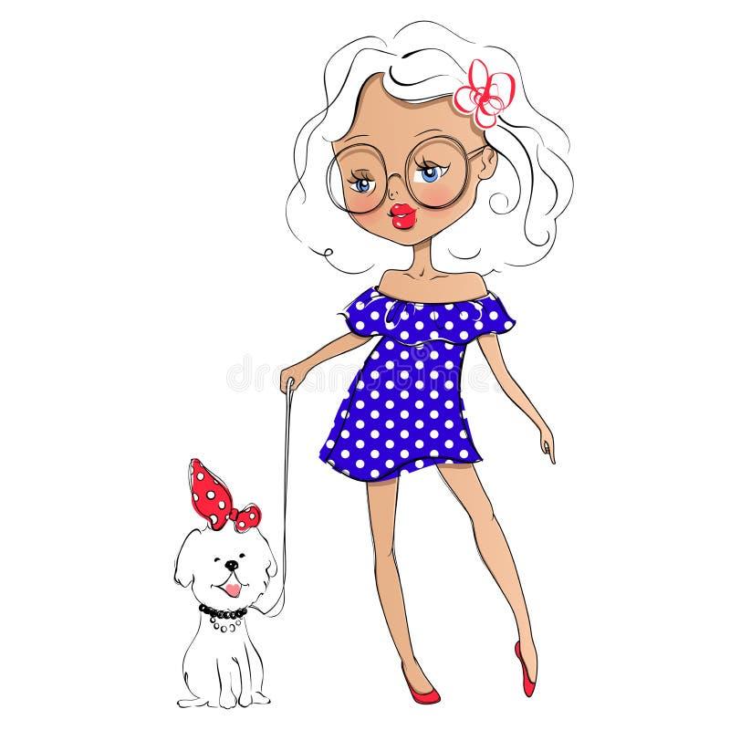 Śliczna wektorowa dziewczyna i zwierzę domowe Elegancki młody nastoletni pójść dla spaceru dowcipu ilustracja wektor