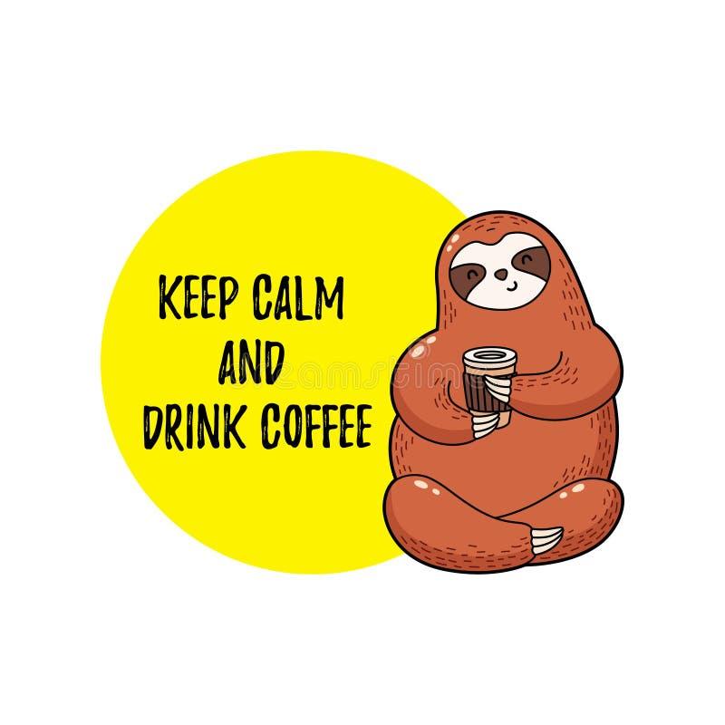 Śliczna wektorowa ilustracja Śmieszna kreskówki opieszałość pije kawę royalty ilustracja