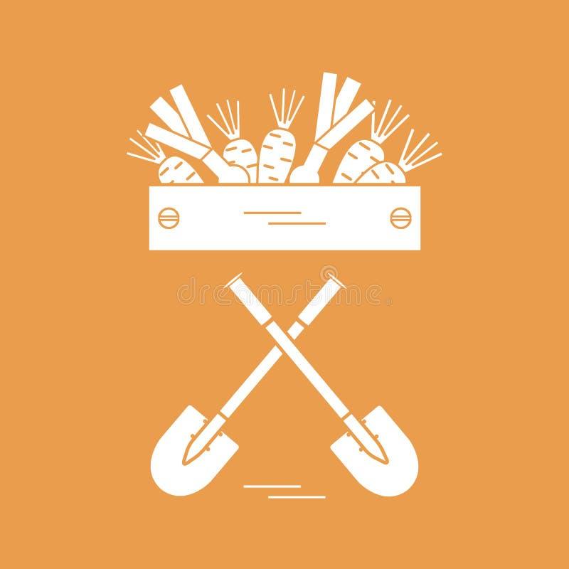 Śliczna wektorowa ilustracja żniwo: dwa łopaty, pudełko marchewki ilustracja wektor