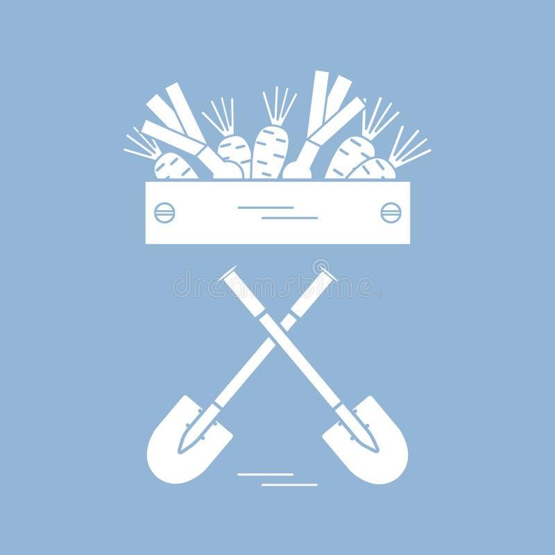 Śliczna wektorowa ilustracja żniwo: dwa łopaty, pudełko marchewki ilustracji