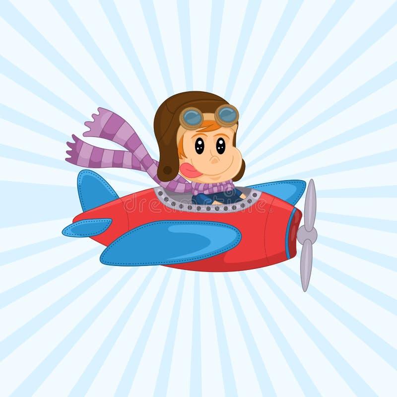 Śliczna Wektorowa ilustracja rocznika samolot z śmiesznym małym pilotem Rozochocony chłopiec latanie w samolocie ilustracji
