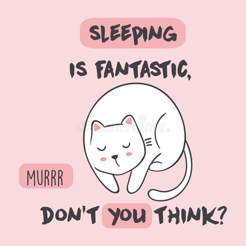 Śliczna Wektorowa ilustracja z anime kawaii sypialnym kotem Z literowaniem dosypianie jest fantastyczny, no ty myśl royalty ilustracja