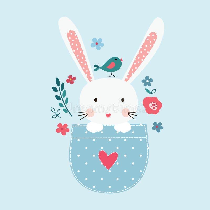 Śliczna wektorowa ilustracja z królik dziewczyną ilustracja wektor