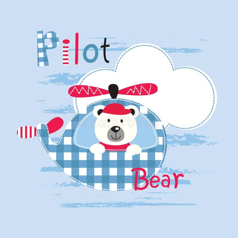 Śliczna wektorowa ilustracja z pilota niedźwiedziem ilustracji