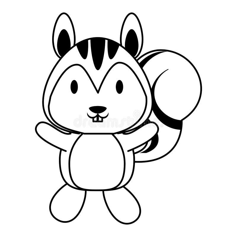 Śliczna wiewiórcza zwierzęca kreskówka w czarny i biały royalty ilustracja