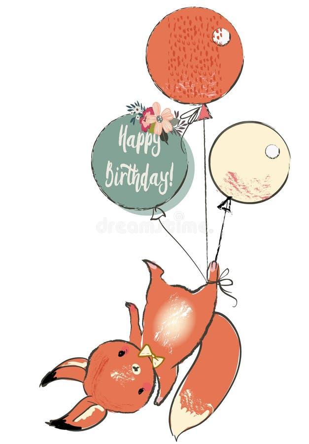 Śliczna wiewiórka z balonami royalty ilustracja