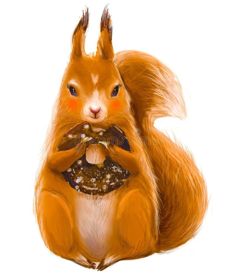 Śliczna wiewiórka z pączkiem royalty ilustracja