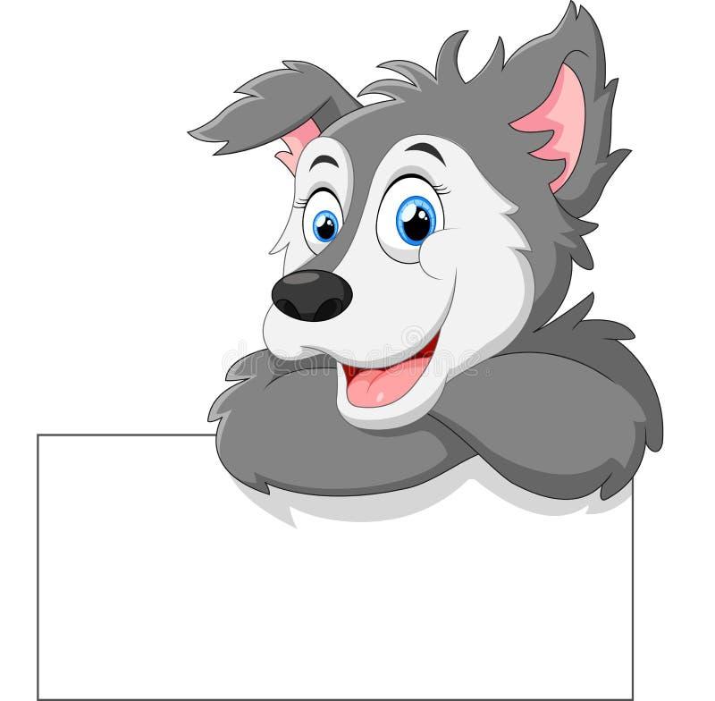 Śliczna wilcza kreskówka z puste miejsce znakiem ilustracja wektor