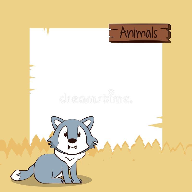 Śliczna wilcza kreskówka z ramą ilustracja wektor