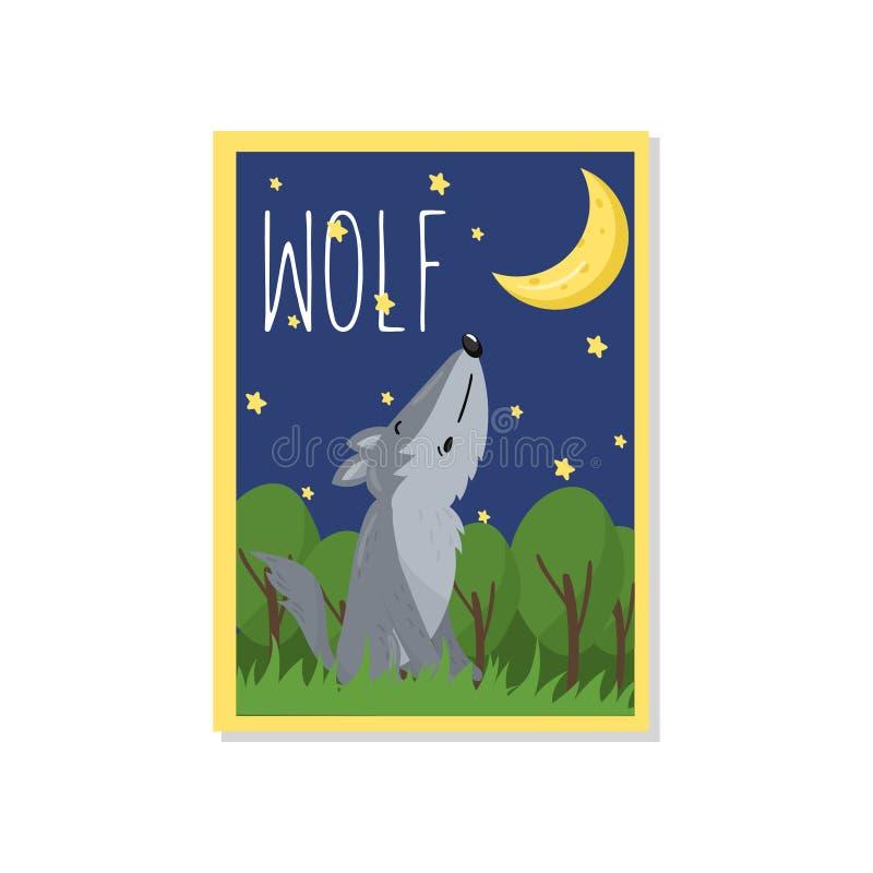 Śliczna wilcza wektorowa ilustracja z lasu zwierzęciem, projekta element dla sztandaru, ulotka, plakat, kartka z pozdrowieniami,  ilustracja wektor