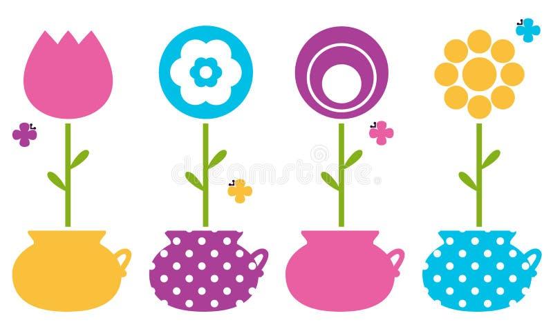 Śliczna wiosna kwitnie w kwiatów garnkach ilustracji