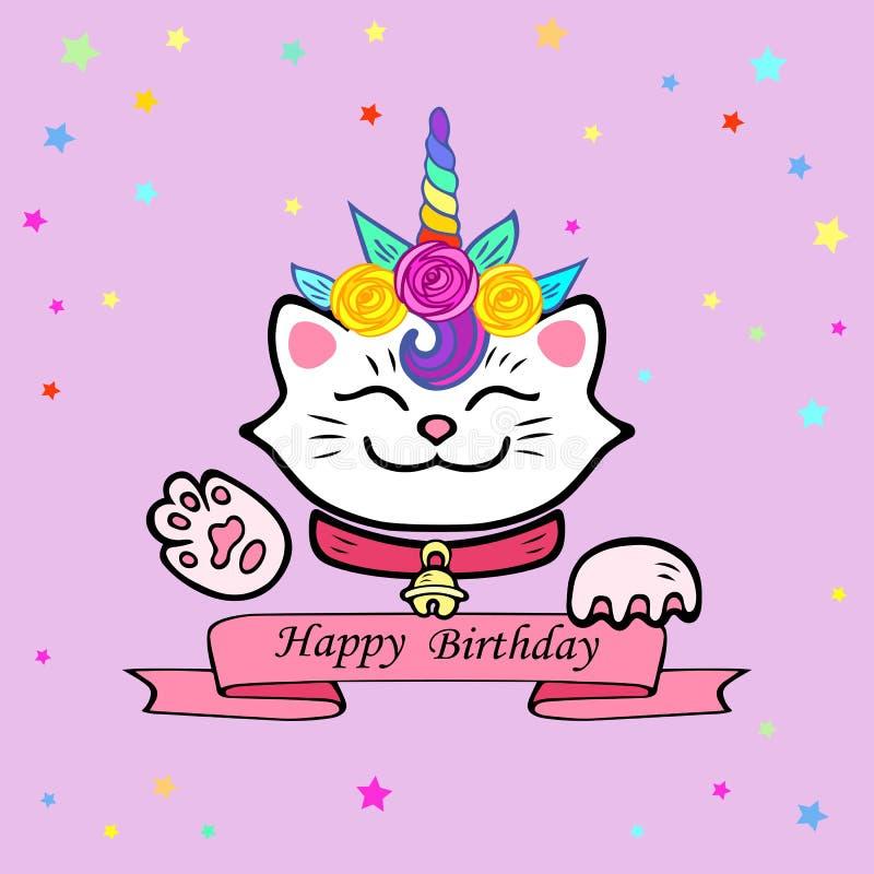 Śliczna wszystkiego najlepszego z okazji urodzin karta z kotem i jednorożec tiarą ilustracji