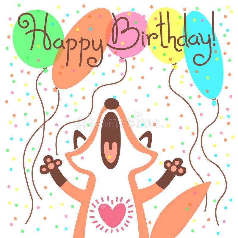 Śliczna wszystkiego najlepszego z okazji urodzin karta z śmiesznym lisem royalty ilustracja
