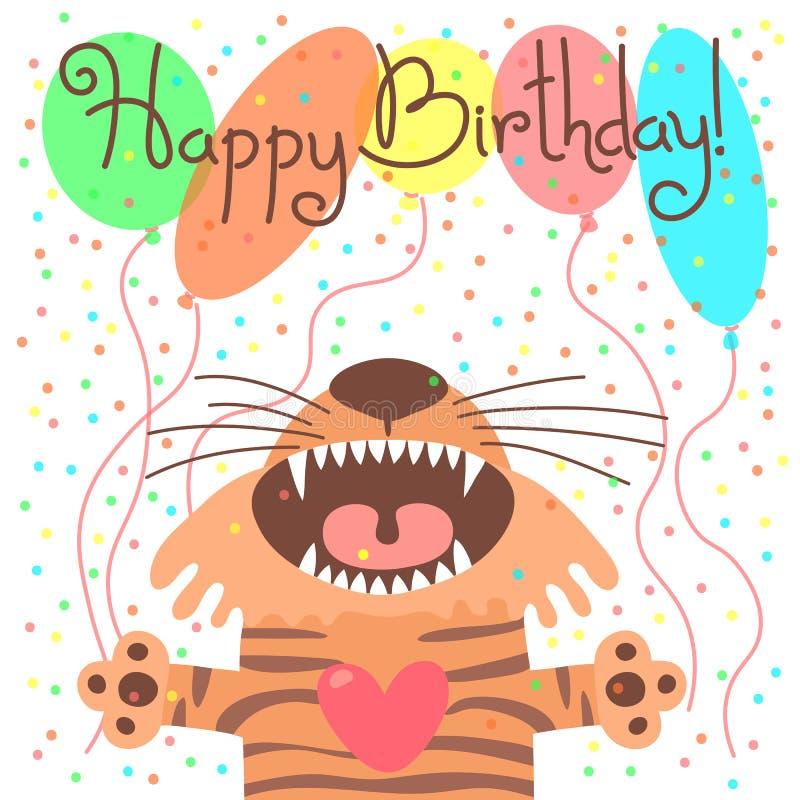 Śliczna wszystkiego najlepszego z okazji urodzin karta z śmiesznym tygrysem ilustracja wektor