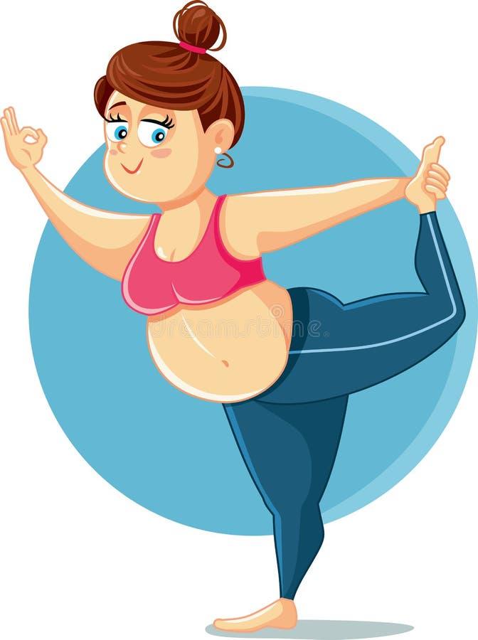 Śliczna Z nadwagą dziewczyna w joga pozy wektoru kreskówce ilustracja wektor