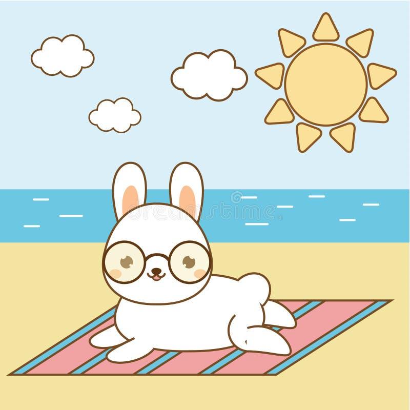 Śliczna zając sunbathing Kawaii królik na plaży Biały królika lying on the beach na seashore royalty ilustracja