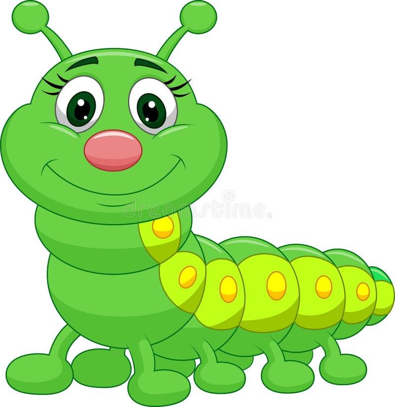 Śliczna zielona gąsienicowa kreskówka ilustracja wektor