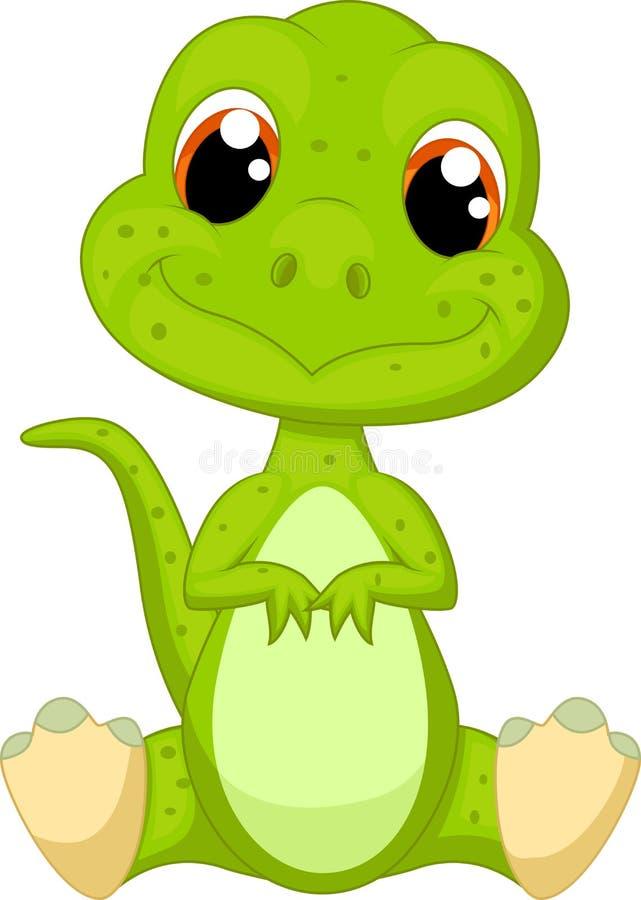 Śliczna zielonego dinosaura kreskówka ilustracja wektor