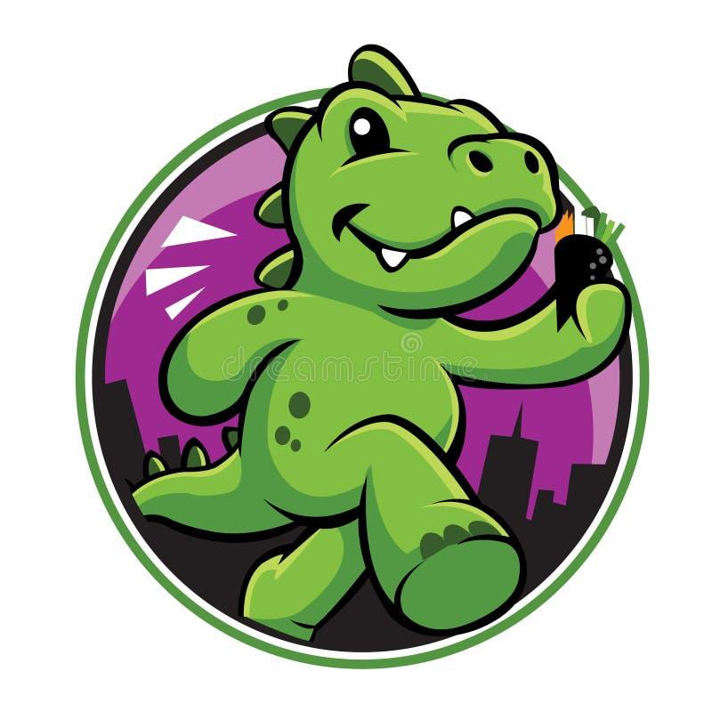 Śliczna zielonego dinosaura kreskówka z temaki ilustracji