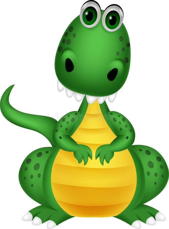 Śliczna zielonego smoka kreskówka ilustracja wektor