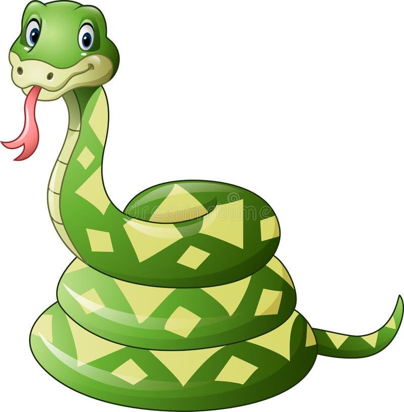 Śliczna zielonego węża kreskówka royalty ilustracja