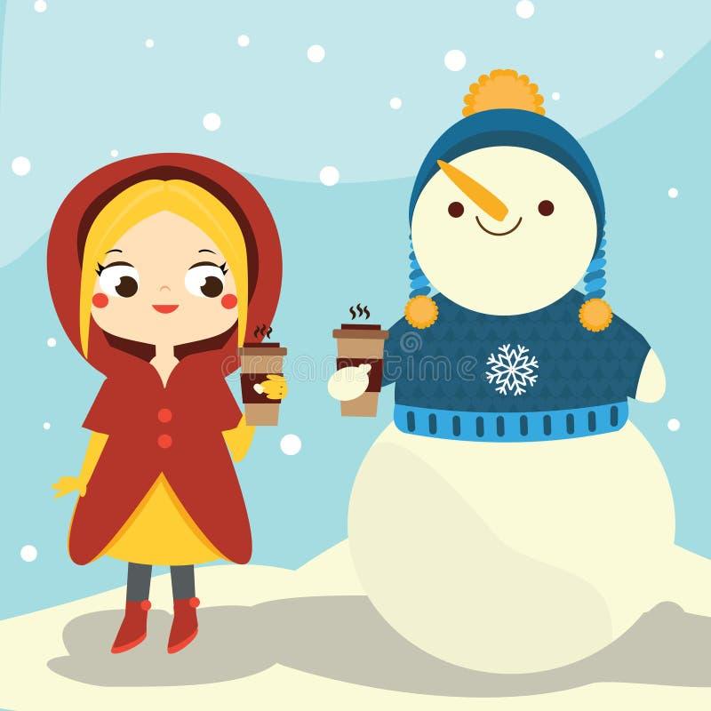 Śliczna zimy dziewczyna i bałwanu mienia kawa Zimy zabawy plenerowa aktywność ilustracja wektor