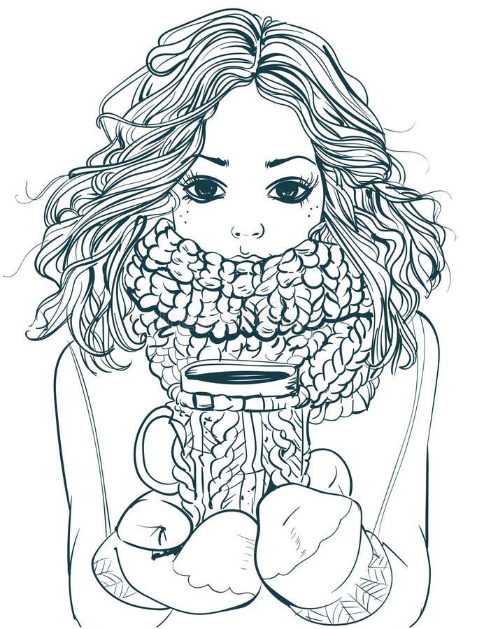 Śliczna zimy dziewczyna z filiżanką royalty ilustracja