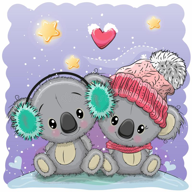 Śliczna zimy ilustracja z dwa koalami ilustracja wektor