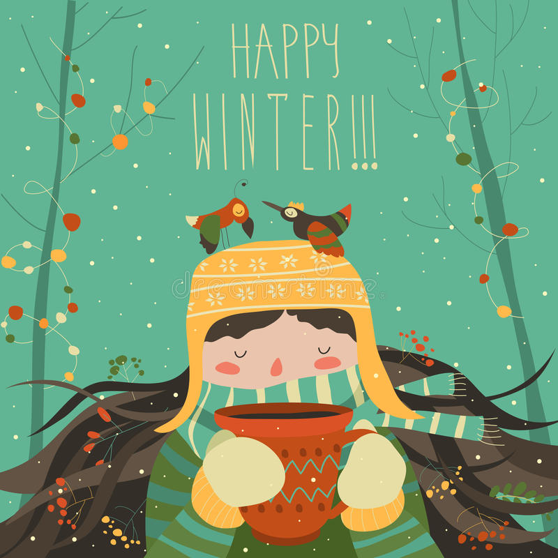 Śliczna zimy kreskówki dziewczyna z kawą ilustracja wektor