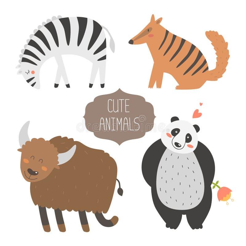 śliczna zwierzę kolekcja ilustracji