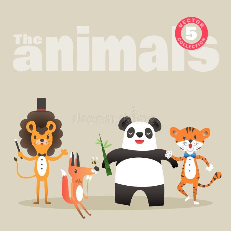 Śliczna zwierzę kreskówka wliczając lwa lisa tygrysa i pandy royalty ilustracja