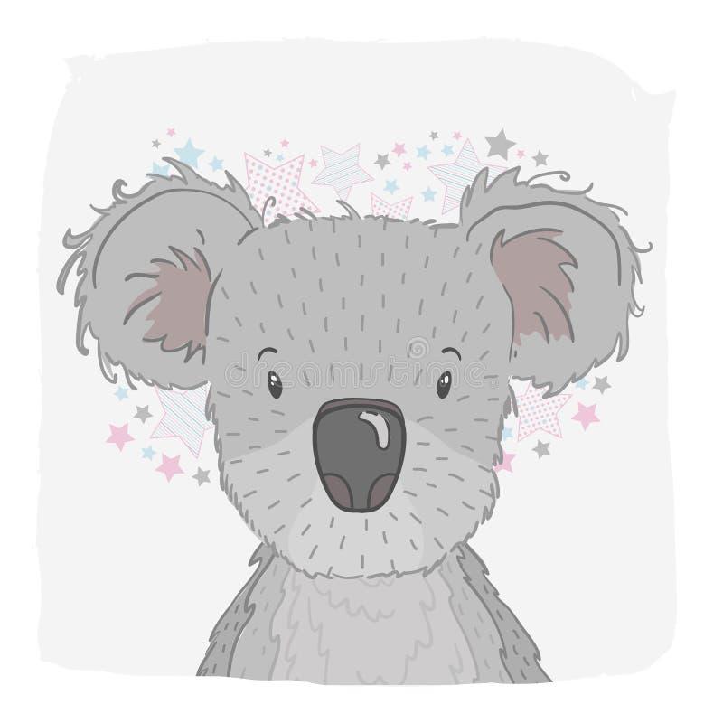 Śliczna zwierzęca koala, twarz Dla druku na koszulce, telefon skrzynka dla dziecka ` s pokoju dla kartka z pozdrowieniami, ilustracja wektor