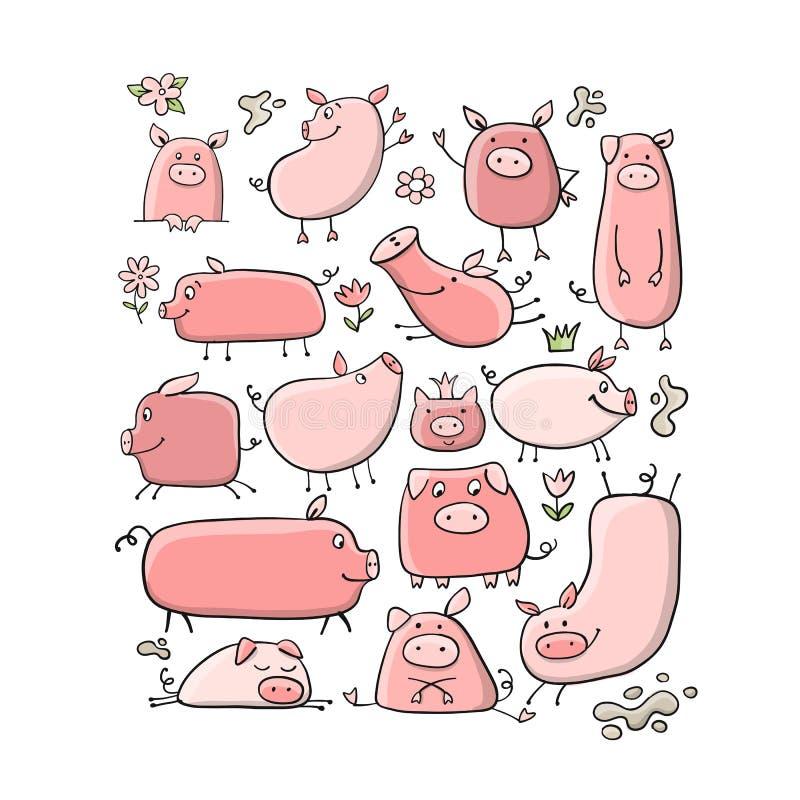 Śliczne świnie inkasowe dla twój projekta ilustracji