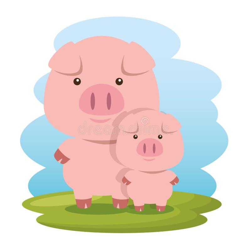 Śliczne świnie ojciec i synów charaktery ilustracja wektor